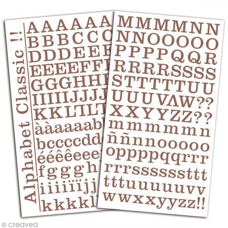 Alphabet autocollant Toga - Marron - 2 planches 26 x 14,5 cm - Photo n°2