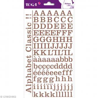 Alphabet autocollant Toga - Marron - 2 planches 26 x 14,5 cm