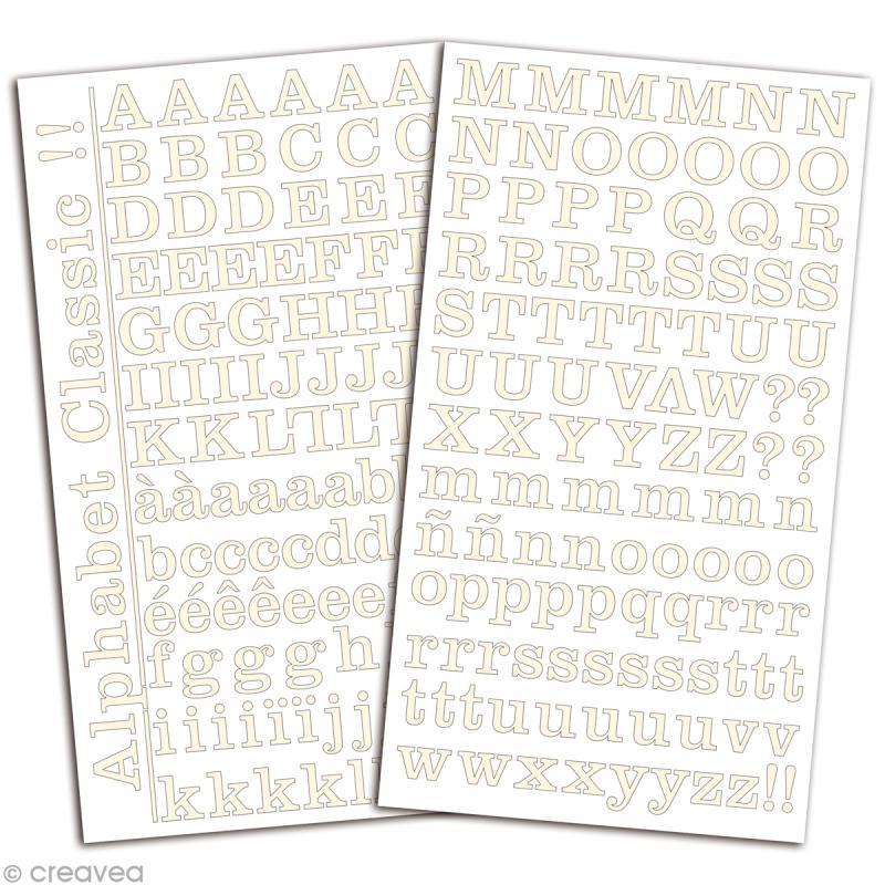 Alphabet autocollant Toga - Blanc ivoire - 2 planches 26 x 14,5 cm - Photo n°2