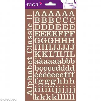 Alphabet autocollant Toga - Blanc ivoire - 2 planches 26 x 14,5 cm