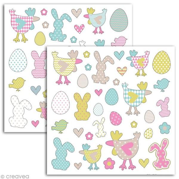 Stickers Color factory Pâques - 2 planches de 15 x 15 cm - 66 autocollants - Photo n°2