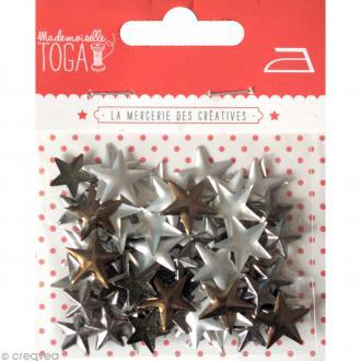 Clou thermocollant étoile - Assortiment Argent Bronze et Gris anthracite - 13 mm x 90 pcs