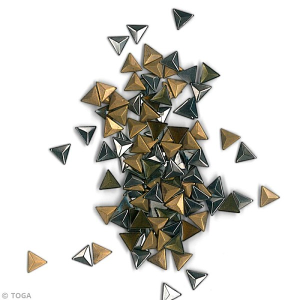 Clou thermocollant triangle - Assortiment Argent Bronze et Gris anthracite - 8 mm x 120 pcs - Photo n°3