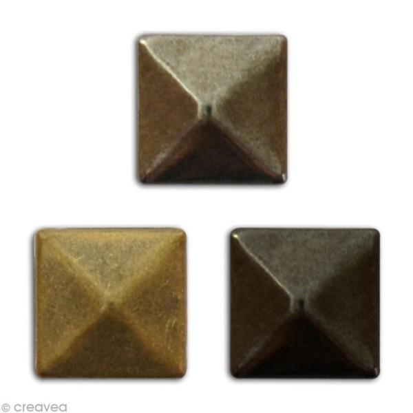 Clou thermocollant 3D carré - Assortiment Argent Bronze et Gris anthracite - 8 mm - 50 pcs - Photo n°2