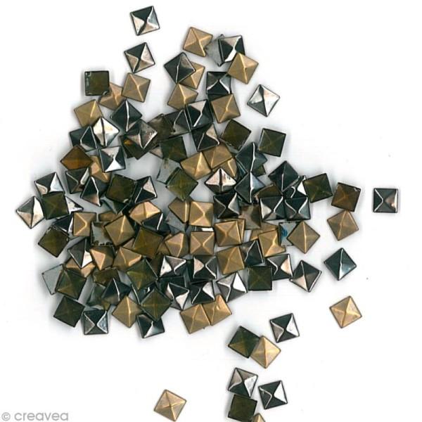 Clou thermocollant 3D carré - Assortiment Argent Bronze et Gris anthracite - 8 mm - 50 pcs - Photo n°3