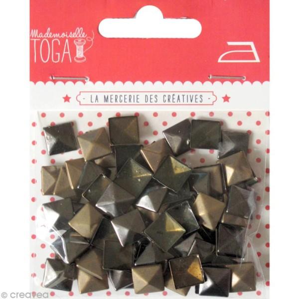 Clou thermocollant 3D carré - Assortiment Argent Bronze et Gris anthracite - 8 mm - 50 pcs - Photo n°1