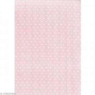 Daily like Pois blancs Rose - Tissu autocollant A4