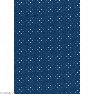 Daily like Pois blancs Bleu marine - Tissu autocollant A4