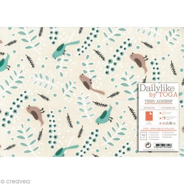Daily Like - Oiseaux bleus sur fond Beige clair - Tissu autocollant A4 - Photo n°2