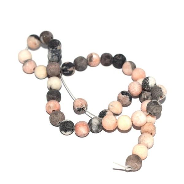 Perle jaspe gris et rose clair 6 mm x10 - Photo n°1