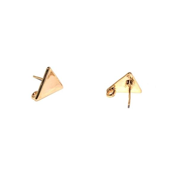 Boucles d'oreilles perceuses triangle + anneau doré - Photo n°1