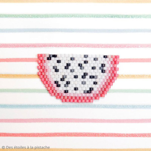 Perles Miyuki Delica 11/0 - White Lined Teal AB - 5g - Photo n°2