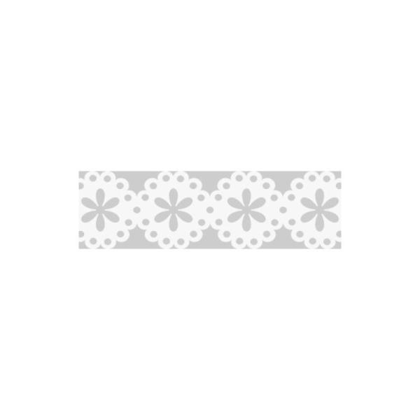 Dentelle en papier, auto-adhésive - Fleurs blanches - Photo n°1
