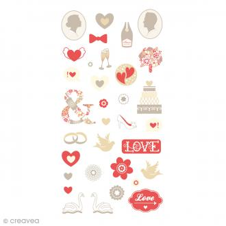 Stickers Puffies 13,5 x 8 cm - Love - 34 pcs