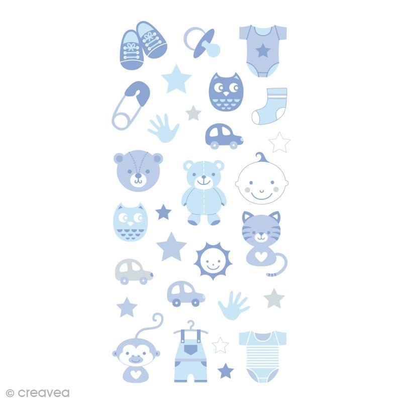 Stickers Puffies 13,5 x 8 cm - Baby boy - 30 pcs - Photo n°1