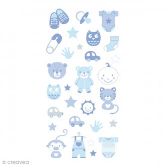 Stickers Puffies 13,5 x 8 cm - Baby boy - 30 pcs