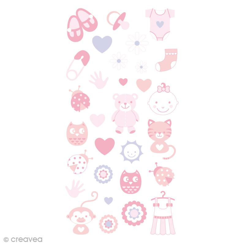 Stickers Puffies 13,5 x 8 cm - Baby girl - 30 pcs - Photo n°1