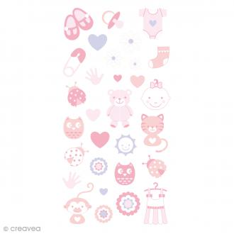 Stickers Puffies 13,5 x 8 cm - Baby girl - 30 pcs