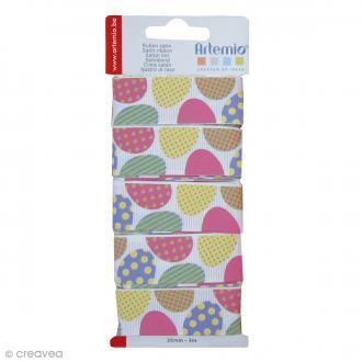 Ruban Artemio - Oeufs colorés - 2,6cm x 3m - 5 pcs