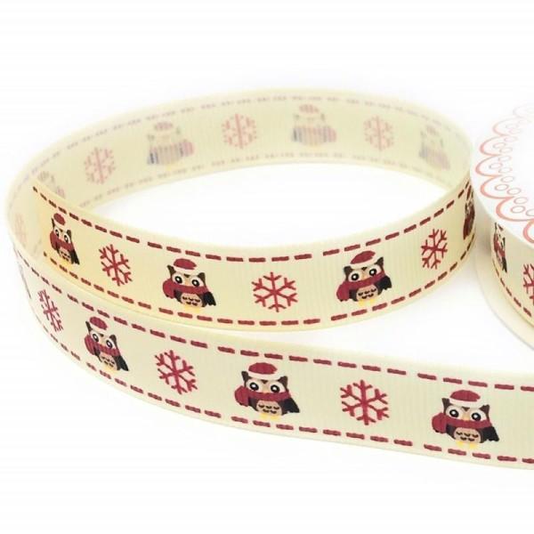 16 mm Wi... Berties Bows-Argent Flocon de neige sur blanc gros-grain Noël Ruban
