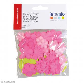 Fleurs en papier Sweet - Mix rose & vert - 130 pcs