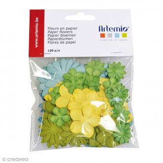Fleurs en papier Pure - Mix jaune & vert - 130 pcs