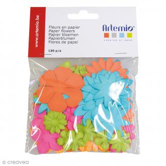 Fleurs en papier Fun - Mix multicolore - 130 pcs