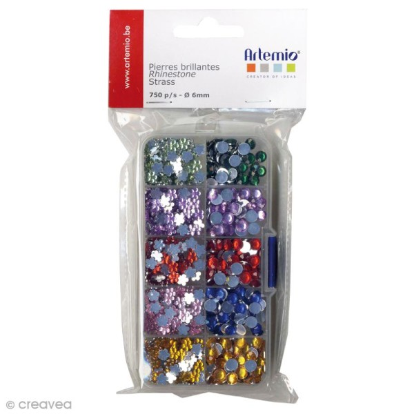 Assortiment strass pierres - Multicolore - 6 mm - 750 pcs - Photo n°1