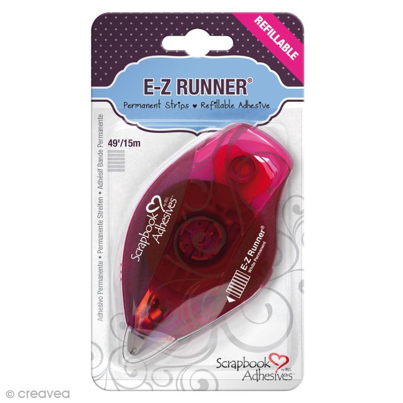Dérouleur adhésif double-face E-Z Runner Permanent - Bande Rayures - 15 m - Photo n°1
