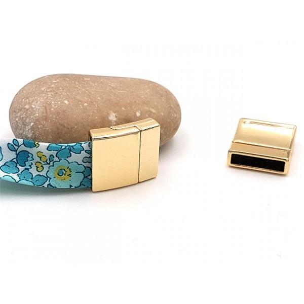 3 Fermoirs Magnétiques Pour Cordon Plat 15mm Couleur Or Doré - Photo n°1