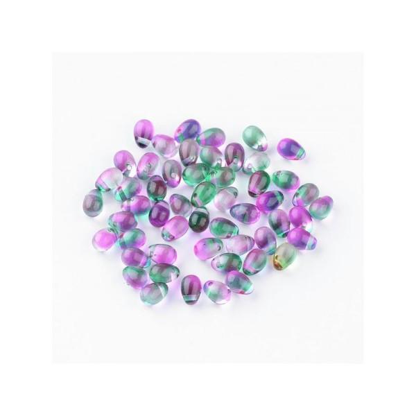 10x Perles Gouttes bicolores 7x5mm VIOLET / VERT - Photo n°1