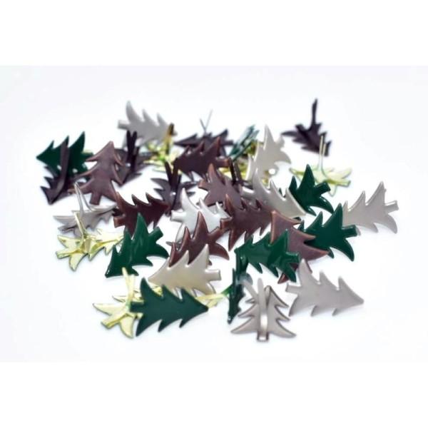 15 Brads sapins de Noël bronze, attaches parisiennes scrapbooking - Photo n°2