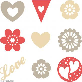 Set de mini silhouettes en feutrine - Love - 45 pcs