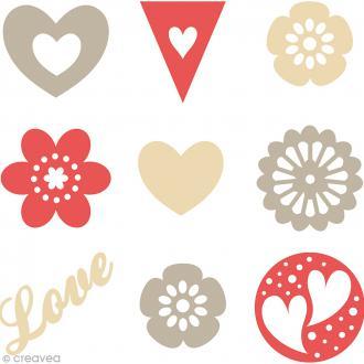 Set de mini silhouettes en feutrine - Love - 45 pcs