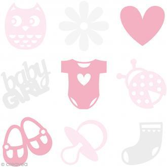 Set de mini silhouettes en feutrine - Bébé fille - 45 pcs