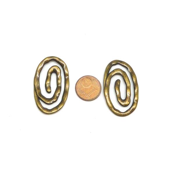 Spirale Ovale, Connecteur 37 X 22mm En Métal De Couleur Bronze - Photo n°2