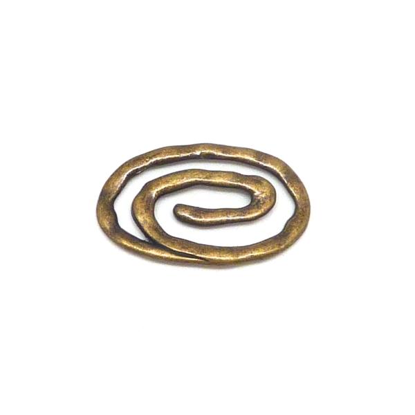 Spirale Ovale, Connecteur 37 X 22mm En Métal De Couleur Bronze - Photo n°1