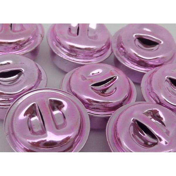 2 Grelots Soupière 15,8mm En Métal Peint Rose Pâle Brillant - Photo n°2