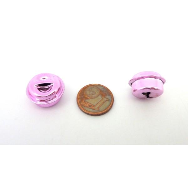 2 Grelots Soupière 15,8mm En Métal Peint Rose Pâle Brillant - Photo n°3
