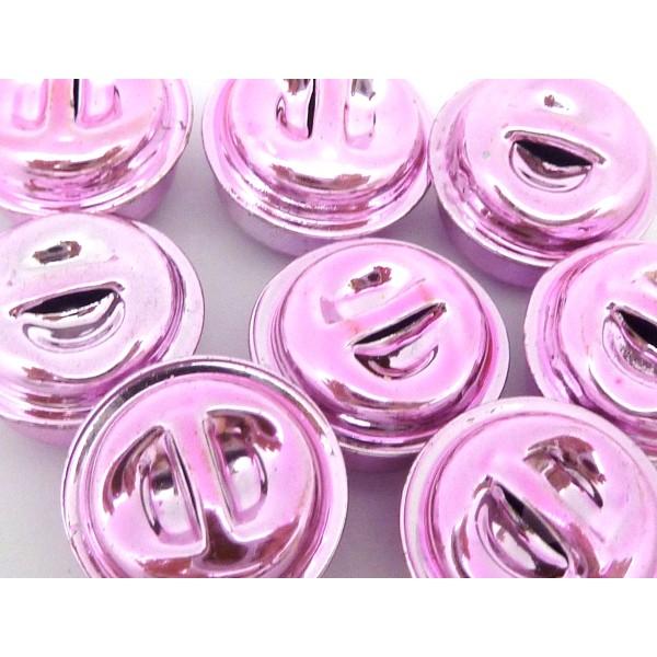 2 Grelots Soupière 15,8mm En Métal Peint Rose Pâle Brillant - Photo n°1