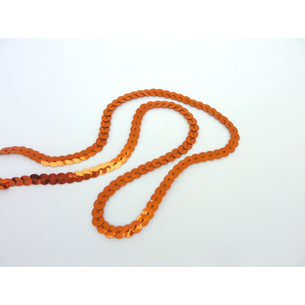 R-1m Ruban Galon Sequin 5mm De Couleur Orange Brillant - Photo n°2