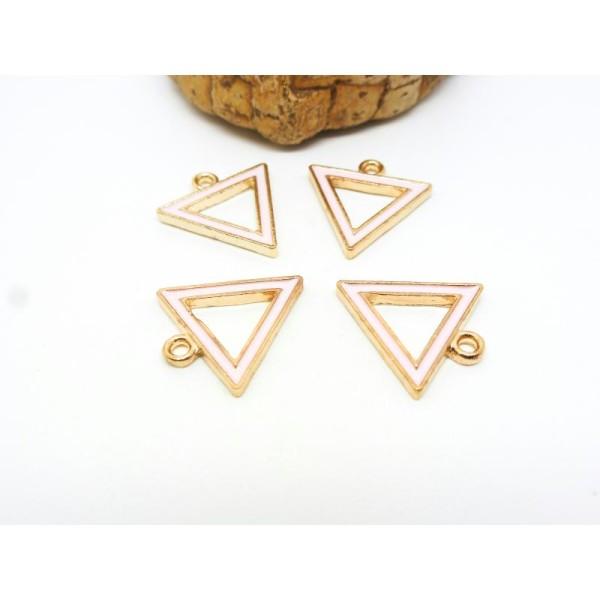 4 Breloques géométriques, triangle - 17*16mm - doré, émail rose clair - Photo n°1
