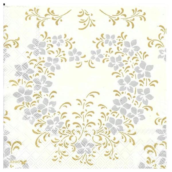 4 Serviettes en papier Mariage Cœur Or et Argent Format Lunch - Photo n°1