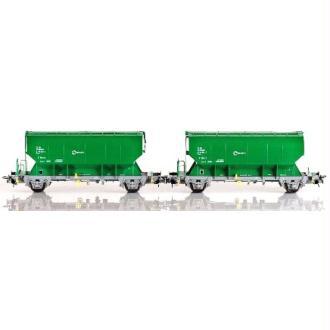 Set de 2 wagons trémies Tgpps, RENFE, vert  - Echelle HO - Sudexpress SU570143212
