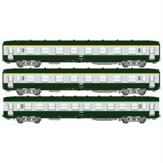 Coffret de 3 voitures DEV AO Courtes Ep,IV Vert Logo jaune encadré  - Echelle HO - REE Modeles VB-