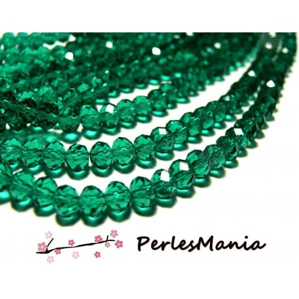 1 fil d'environ 70 perles à facettes rondelles en verre 8 par 10mm Vert emeraude 2J1340 - Photo n°1