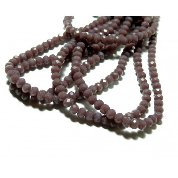 1 fil d'environ 149 perles Rondelles Verre Facettée Parme 4 par 3mm I033 Couleur 25 - Photo n°1