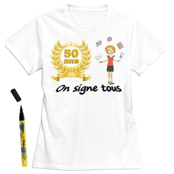 T-Shirt femme 50 ans à dédicacer - Taille XL - Photo n°1