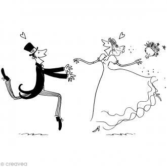 Tampon Mariage homme et femme - 8,5 x 5,7 cm - Bois