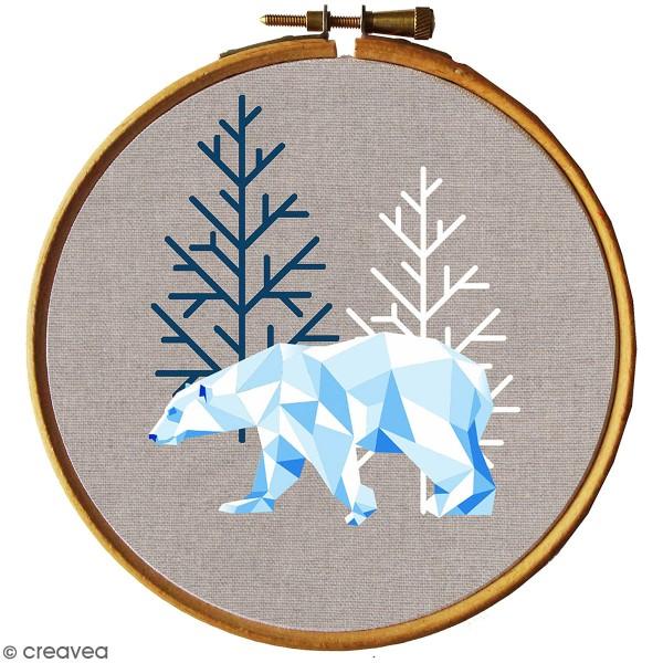 Kit broderie - Ours blanc géométrique - Photo n°1